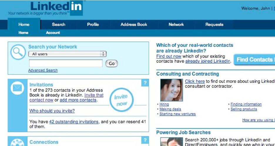 LinkedIn ilk zamanları.